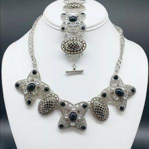 Cookie Lee Silver Rhinestone Necklace Bracelet set